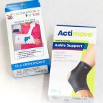 Photograph of an arm sling and an ankle brace